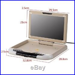 13'' Car Ceiling Flip Down Monitor Wide Screen LCD TFT Auto Roof Mount TV Beige