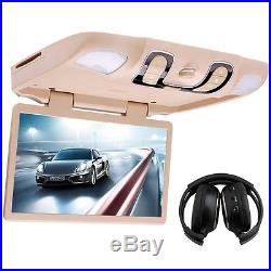 15.6 DVD Players Roof Mount In Car Flip Down LCD Monitor WIDE SCREEN Headphones