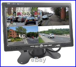 7 Quad Widescreen TFT LCD Monitor with Dash Bracket 4 input car camera screen