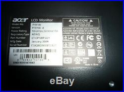 ACER P191W LCD 19 Flat Wide Screen Computer Monitor (Black) No Stand