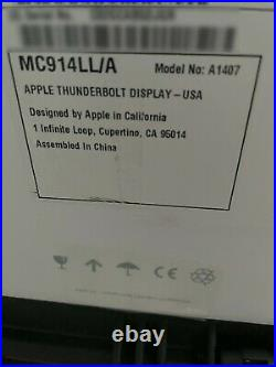 Apple 27 Inch Thunderbolt Monitor A1407 LCD Widescreen FREE SHIPPING