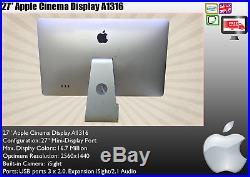 Apple Cinema Display 27 A1316 Widescreen LED LCD Monitor Speakers USB EF199