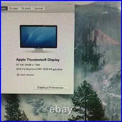 Apple Thunderbolt 27 LCD Display Widescreen Monitor A1407 2560 x 1440