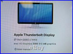 Apple Thunderbolt Display A1407 27 Inch 2560 x 1440 Widescreen LCD Monitor 47-5