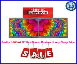 Cheap 2 x 22 INCH Dual LENOVO Widescreen LED LCD Monitor 1680 x 1050 No Stand