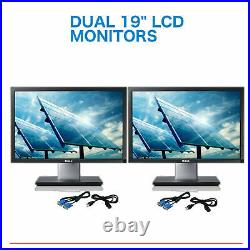 DUAL Dell Ultrasharp 19 Widescreen LCD Monitors Gaming with cables Grade A