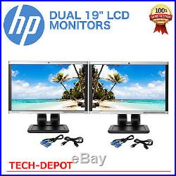 DUAL HP 19 Widescreen LCD Monitors Matching Model Pair with cables