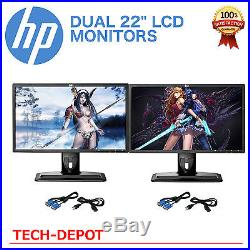 DUAL Matching HP 22 Widescreen LCD Monitors Pair with cables Gaming / Office