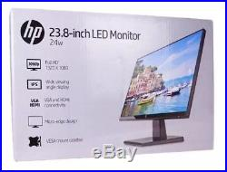 HP 24w 23.8 LCD Widescreen Monitor 24 Black HDMI VGA 1CA86AA Movie Game Office