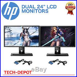 Matching DUAL LARGE 24 Widescreen LCD Monitors with cables Gaming Major brands