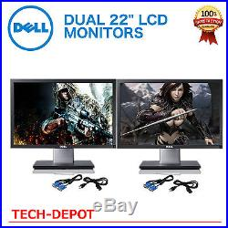Matching DUAL LARGE DELL Ultrasharp 22 Widescreen LCD Monitors with cables Gaming