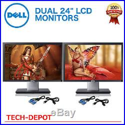 Matching DUAL LARGE DELL Ultrasharp 24 Widescreen LCD Monitors with cables Gaming